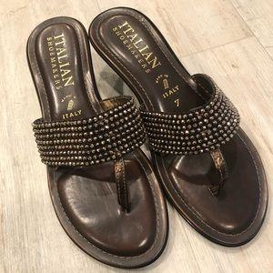 Italian Shoemakers Brown & Gold Studded Flip Flops